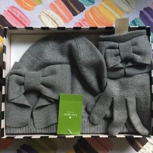 Kate Spade NWT Dorothy Bow beanie + glove box set